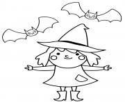 sorciere avec ses amis chauves souris halloween cp dessin à colorier