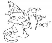 chat magicien comme une sorciere dessin à colorier