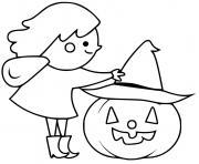 sorciere donne son chapeau a la citrouille dessin à colorier