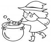 sorciere prepare une potion magique dessin à colorier
