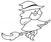 petite sorciere sur son balai en plein vol dessin à colorier