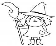 adorable sorciere avec son balai dessin à colorier