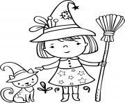 petite sorciere et son chat noir halloween facile dessin à colorier