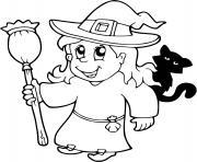 sorciere possede des dons surnaturels de magie halloween dessin à colorier