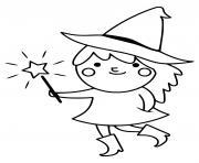adorable sorciere avec baguette magique dessin à colorier