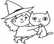 adorable sorciere avec son chat noir dessin à colorier