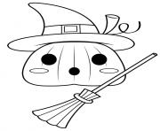 une citrouille se prend pour une sorciere halloween dessin à colorier