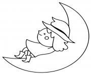 sorciere se repose sur la lune dessin à colorier