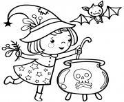 petite sorciere prepare une soupe magique dessin à colorier