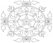 mandala halloween chauves souris et citrouilles dessin à colorier