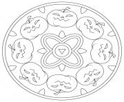 mandala halloween citrouilles maternelle facile dessin à colorier