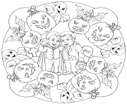 mandala halloween vampire zombie citrouilles fantomes dessin à colorier