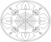 halloween mandala chauve souris et toile araignee dessin à colorier