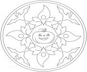 halloween mandala citrouille et chauves souris facile maternelle dessin à colorier