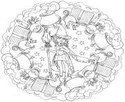 mandala halloween sorcieres et son monde magique potion livre par Lesya Adamchuk dessin à colorier