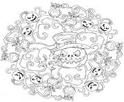 mandala halloween citrouilles hiboux chat maternelle facile dessin à colorier