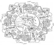 mandala halloween sorciere avec des maisons hantees dessin à colorier