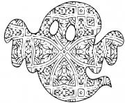 mandala halloween fantome difficile pour adulte dessin à colorier