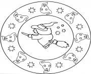 mandala halloween sorciere avec fantomes maternelle facile dessin à colorier