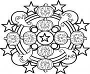 Halloween Mandala avec fantomes et citrouilles dessin à colorier