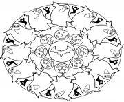 mandala halloween citrouilles fantomes maternelle cp dessin à colorier
