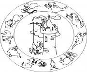 mandala halloween maternelle facile fantomes sur un chateau dessin à colorier