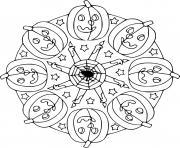 Halloween Mandala avec citrouilles et chandelles dessin à colorier
