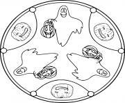 Halloween Mandala avec fantomes simple facile dessin à colorier