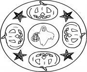 mandala halloween avec citrouilles fantomes simple facile dessin à colorier