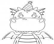 dragon facile anniversaire avec un petit chapeau dessin à colorier