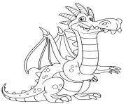 dragon facile avec de grandes ailes pour voler dessin à colorier