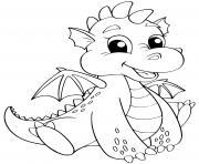 bebe dragon facile avec un sourire dessin à colorier