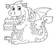 anniversaire dragon avec un gateau pour sa fete dessin à colorier