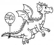 dragon facile avec un ballon de anniversaire dessin à colorier