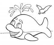 baleine franche atlantique avec des oiseaux dessin à colorier