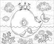 baleine adulte mandala dans la mer dessin à colorier