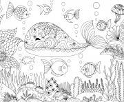 baleine mandala adulte zentangle dessin à colorier
