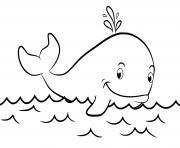 baleine de cuvier sur la mer eau animal marin dessin à colorier