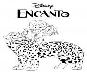 camilo un adolescent sur un tigre film encanto disney dessin à colorier