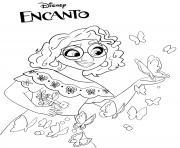 Mirabel avec un papillon Encanto Disney dessin à colorier