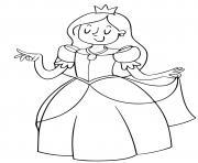 princesse avec une jolie robe royale cp facile dessin à colorier