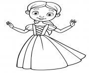 princesse facile avec simple robe dessin à colorier