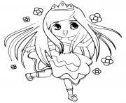 princesse kawaii avec des fleurs dessin à colorier