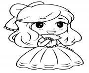princesse barbie kawaii cp facile dessin à colorier
