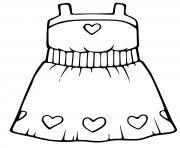 robe de princesse motif coeurs dessin à colorier