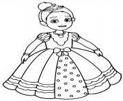 princesse avec une robe de mariage dessin à colorier