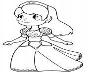 princesse avec une robe motif de coeurs dessin à colorier