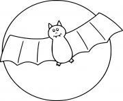 coloriage Simple chauve souris dans les airs avec la lune