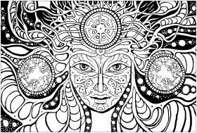 adulte difficile psychedelic femme dessin à colorier